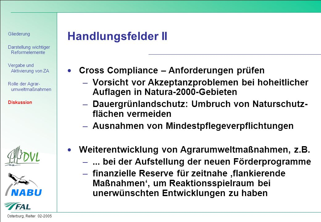 Handlungsfelder II Cross Compliance – Anforderungen prüfen