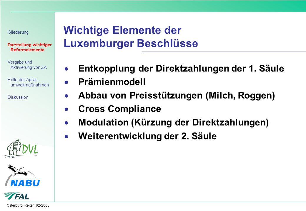Wichtige Elemente der Luxemburger Beschlüsse