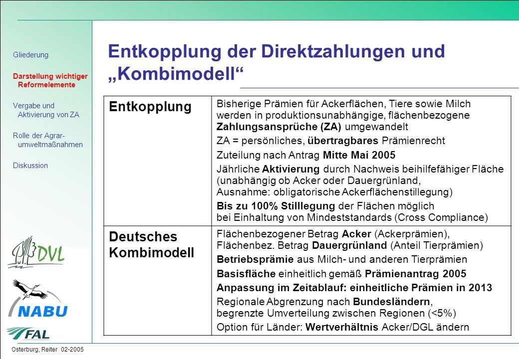 """Entkopplung der Direktzahlungen und """"Kombimodell"""