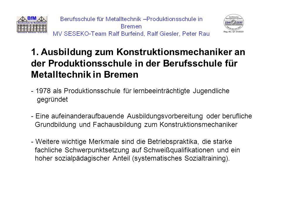 1. Ausbildung zum Konstruktionsmechaniker an der Produktionsschule in der Berufsschule für Metalltechnik in Bremen
