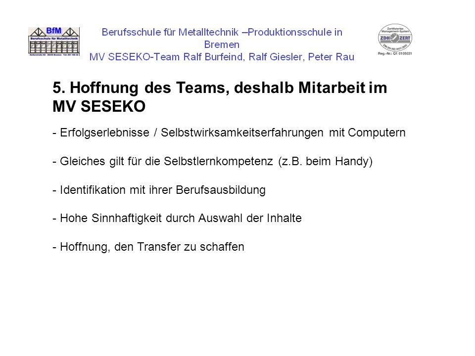 5. Hoffnung des Teams, deshalb Mitarbeit im MV SESEKO
