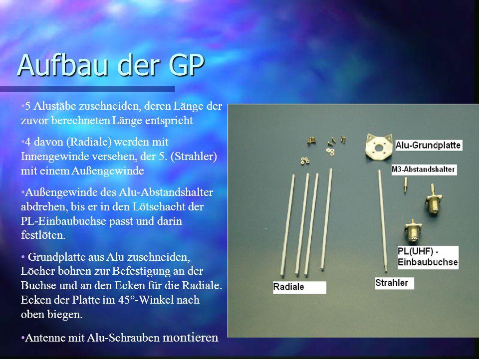 Aufbau der GP 5 Alustäbe zuschneiden, deren Länge der zuvor berechneten Länge entspricht.