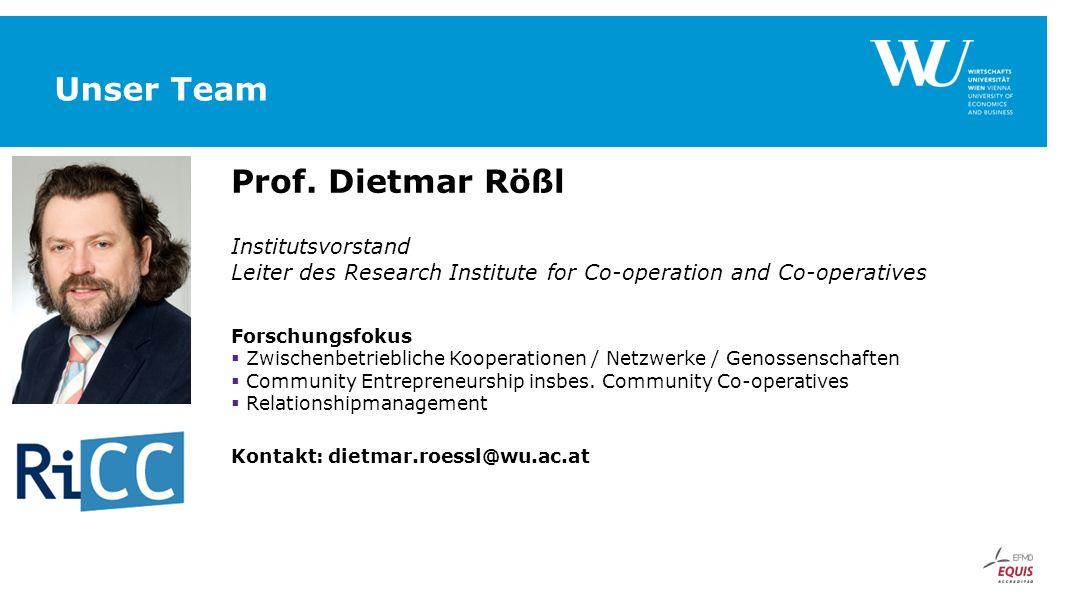 Unser Team Prof. Dietmar Rößl Institutsvorstand