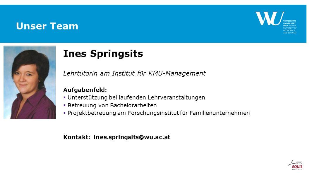 Unser Team Ines Springsits Lehrtutorin am Institut für KMU-Management