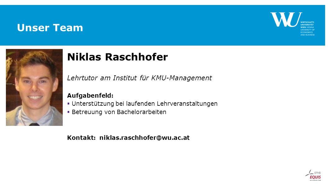 Unser Team Niklas Raschhofer Lehrtutor am Institut für KMU-Management