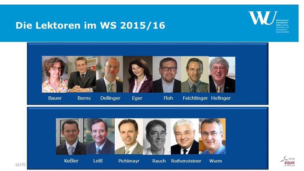 Die Lektoren im WS 2015/16 Bauer Borns Dellinger Eger Floh Feichtinger Hofinger.