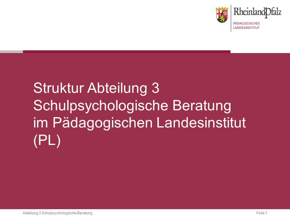 Struktur Abteilung 3 Schulpsychologische Beratung im Pädagogischen Landesinstitut (PL)