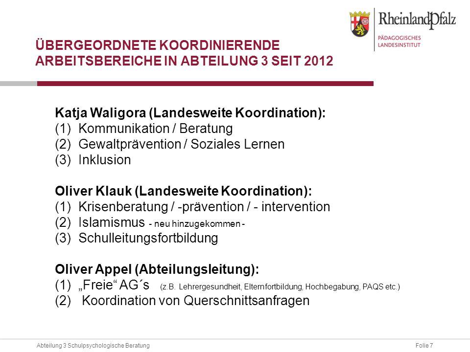 Übergeordnete Koordinierende Arbeitsbereiche in Abteilung 3 seit 2012