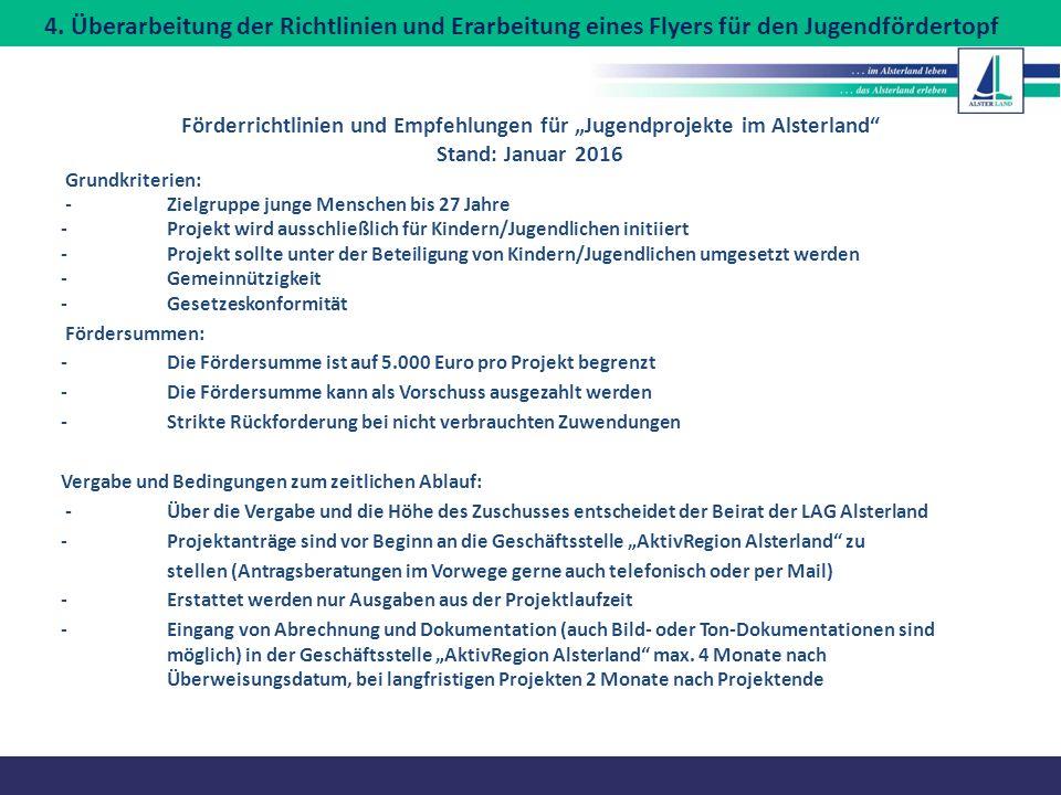"""Förderrichtlinien und Empfehlungen für """"Jugendprojekte im Alsterland"""