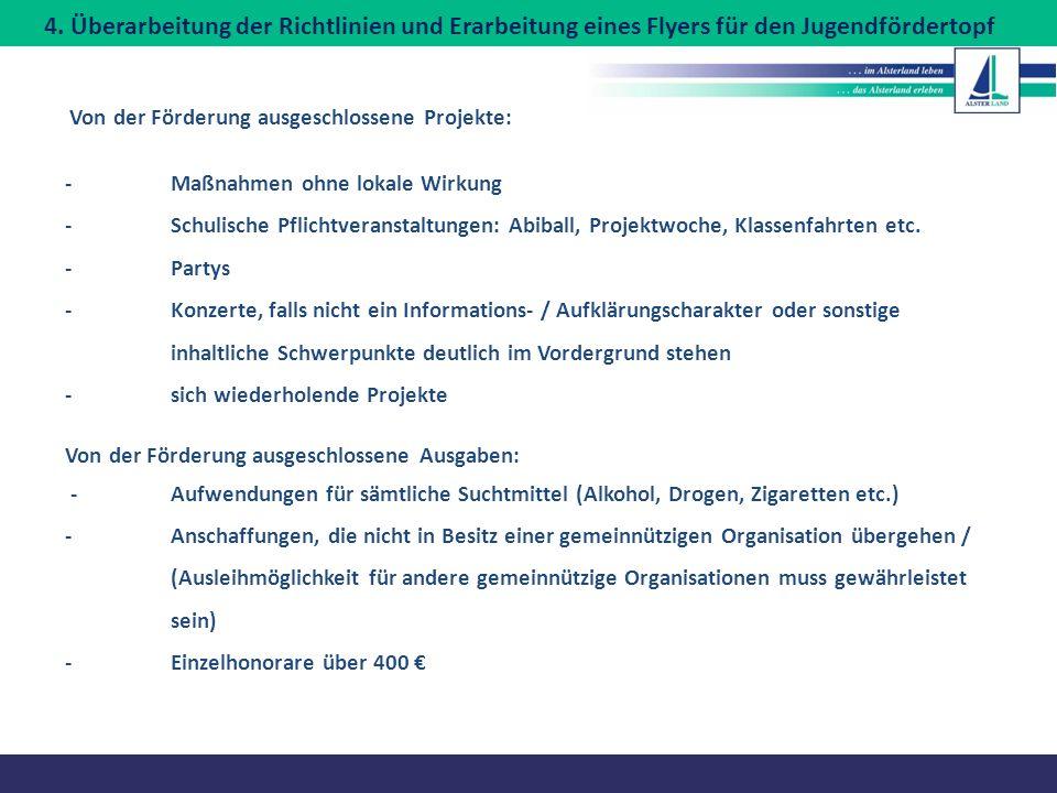 4. Überarbeitung der Richtlinien und Erarbeitung eines Flyers für den Jugendfördertopf