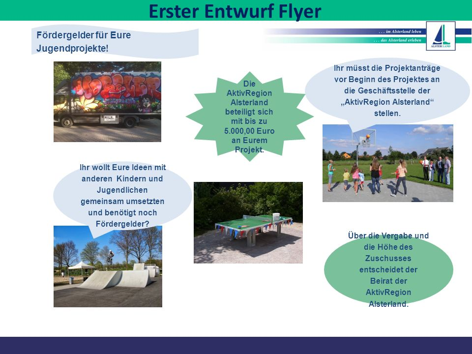Erster Entwurf Flyer Fördergelder für Eure Jugendprojekte!