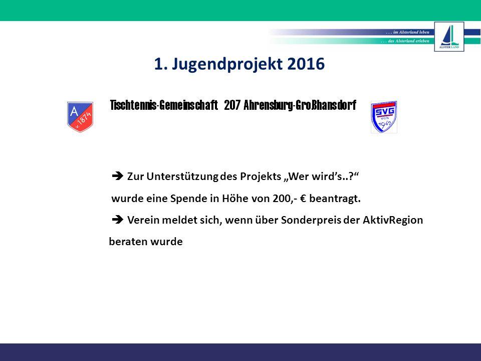 """1. Jugendprojekt 2016  Zur Unterstützung des Projekts """"Wer wird's.."""