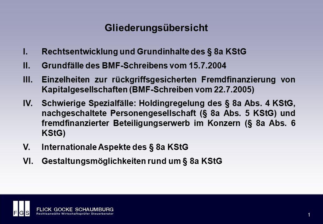 I. Rechtsentwicklung und Grundinhalte des § 8a KStG
