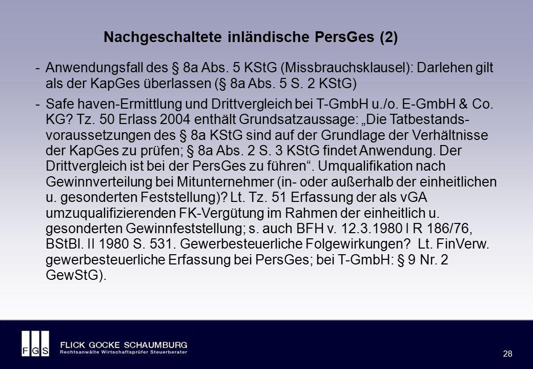 US-Corp. T-SA ausl. Bank inl. KG Eigenfinanzierte inländische PersGes