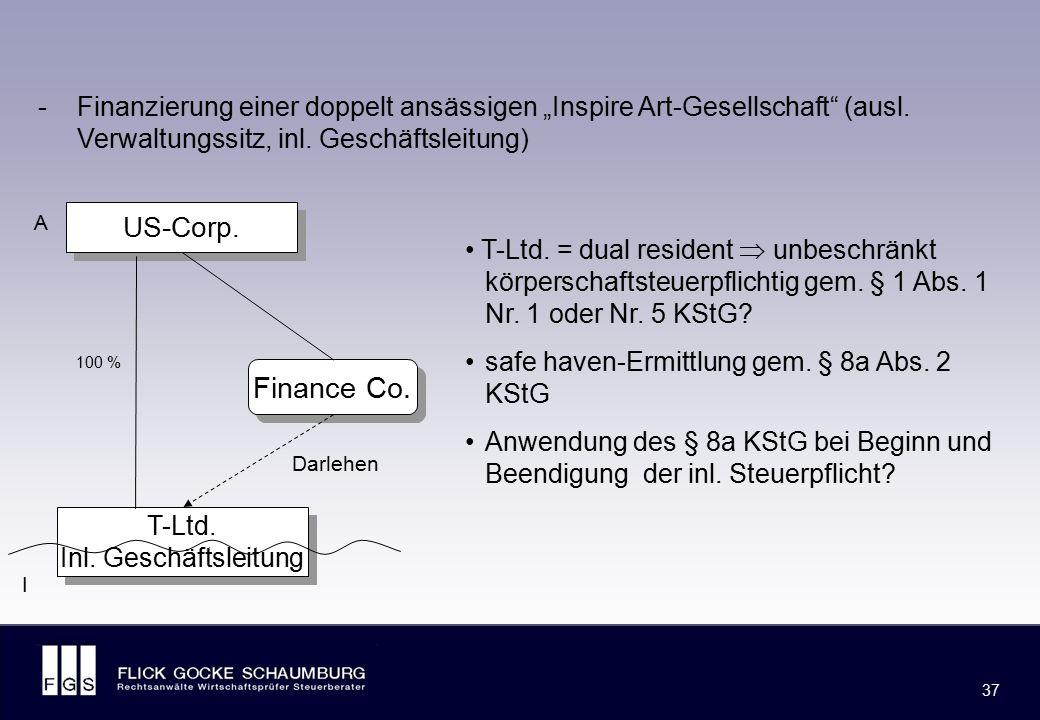 Dokumentationspflicht gem. § 90 Abs. 3 AO und § 8a KStG