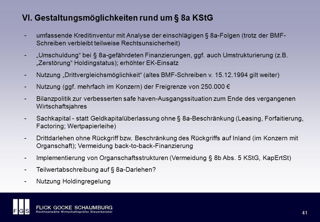 Weitere Gestaltungsmöglichkeiten rund um § 8a KStG