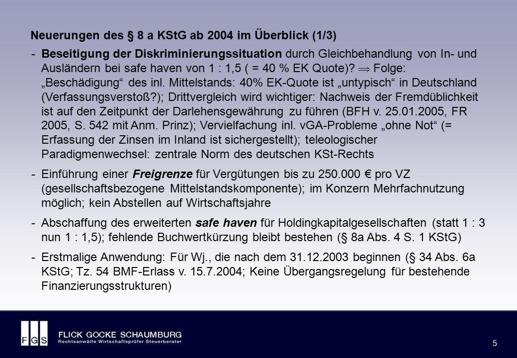 Neuerungen des § 8 a KStG ab 2004 im Überblick (2/3)