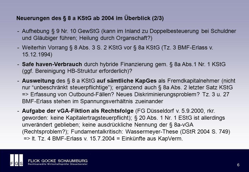 Neuerungen des § 8 a KStG ab 2004 im Überblick (3/3)