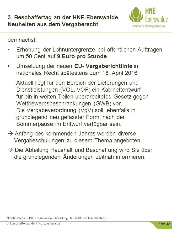 3. Beschaffertag an der HNE Eberswalde Neuheiten aus dem Vergaberecht
