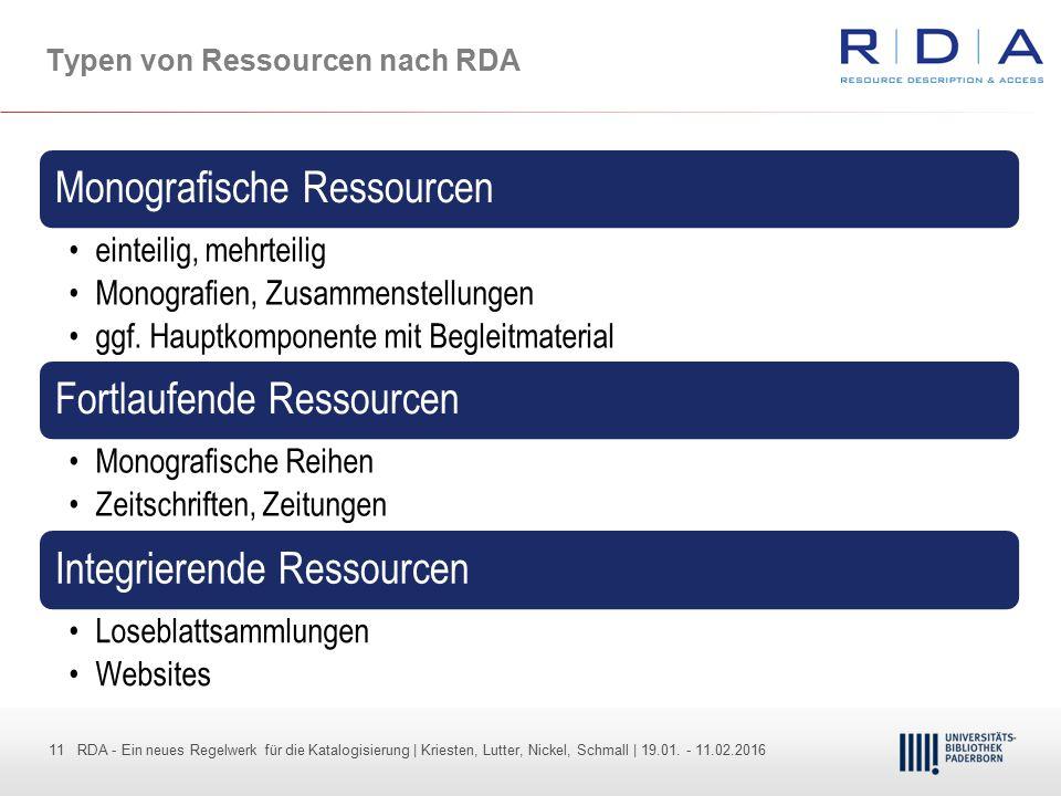 Typen von Ressourcen nach RDA
