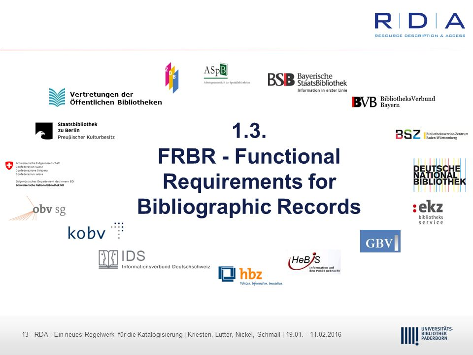 1.3. FRBR - Functional Requirements for Bibliographic Records