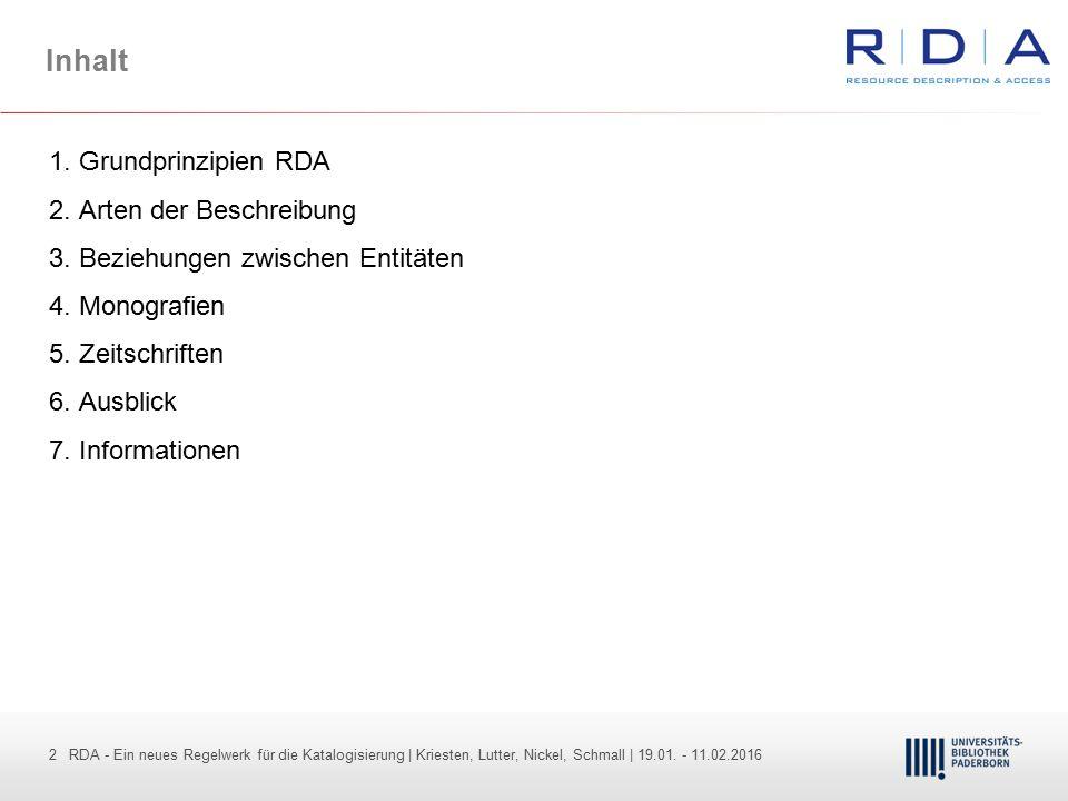 Inhalt 1. Grundprinzipien RDA 2. Arten der Beschreibung