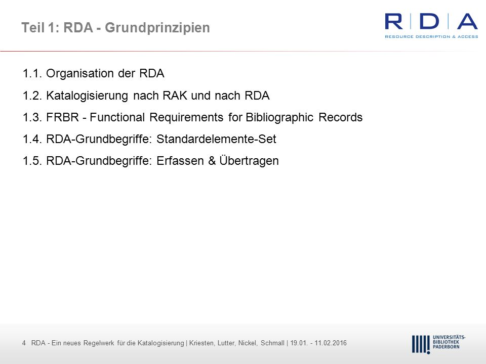 Teil 1: RDA - Grundprinzipien