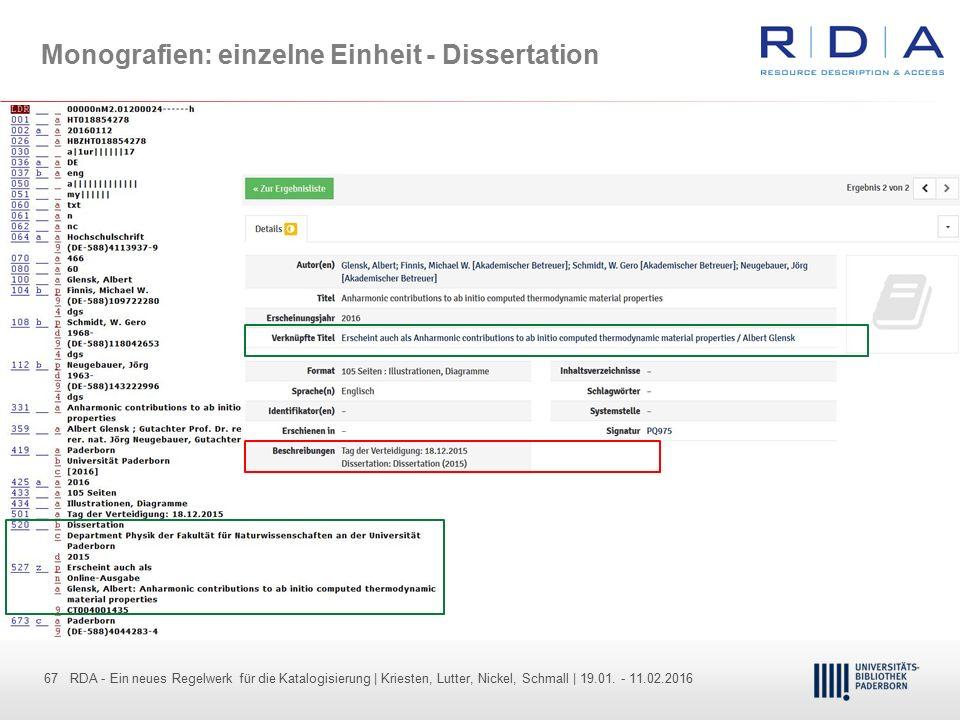 Monografien: einzelne Einheit - Dissertation