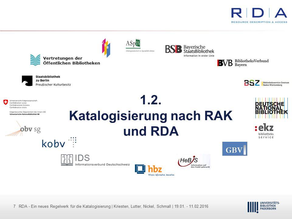 1.2. Katalogisierung nach RAK und RDA