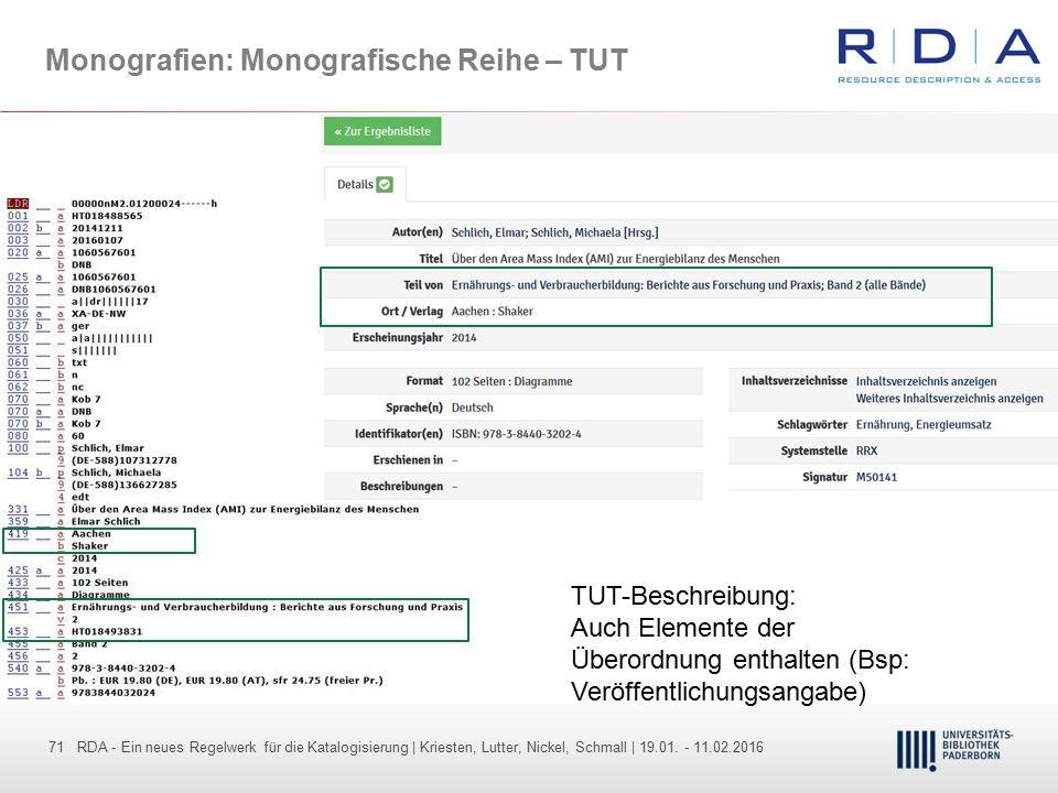 Monografien: Monografische Reihe – TUT