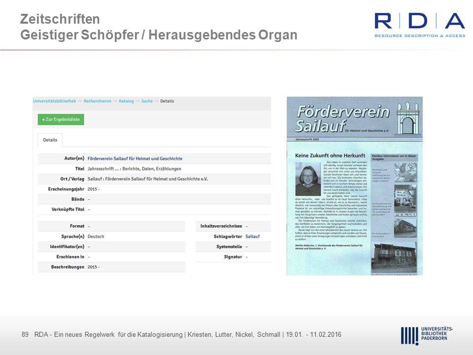 Zeitschriften Geistiger Schöpfer / Herausgebendes Organ