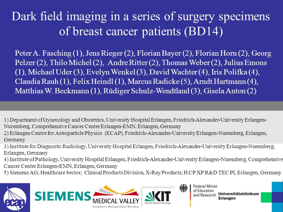 Dark field imaging in a series of surgery specimens of breast cancer patients (BD14)