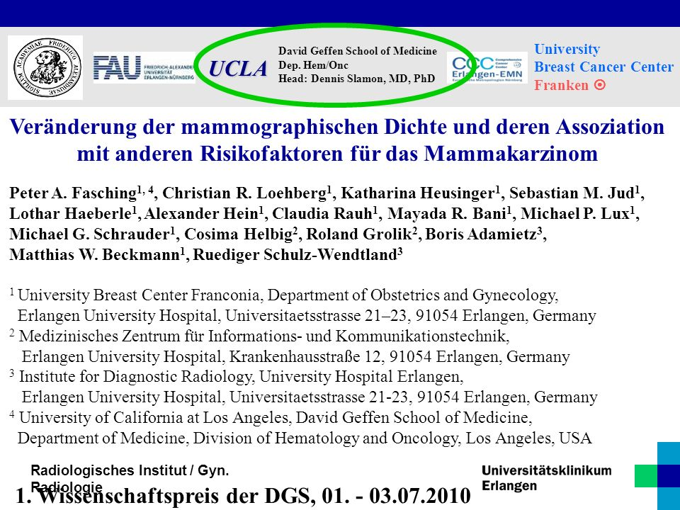 1. Wissenschaftspreis der DGS, 01. - 03.07.2010