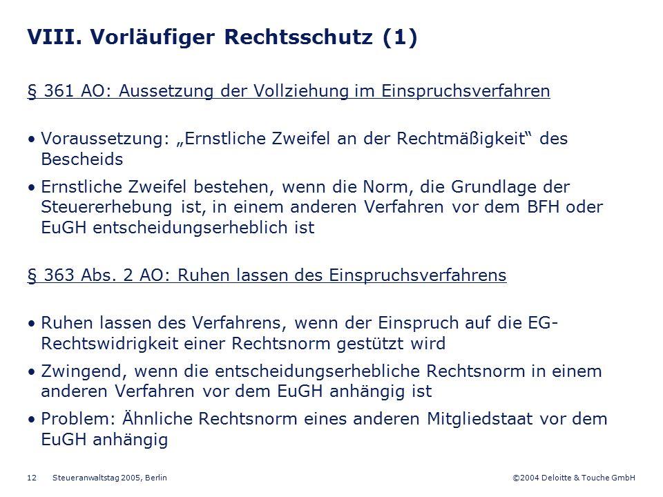VIII. Vorläufiger Rechtsschutz (1)