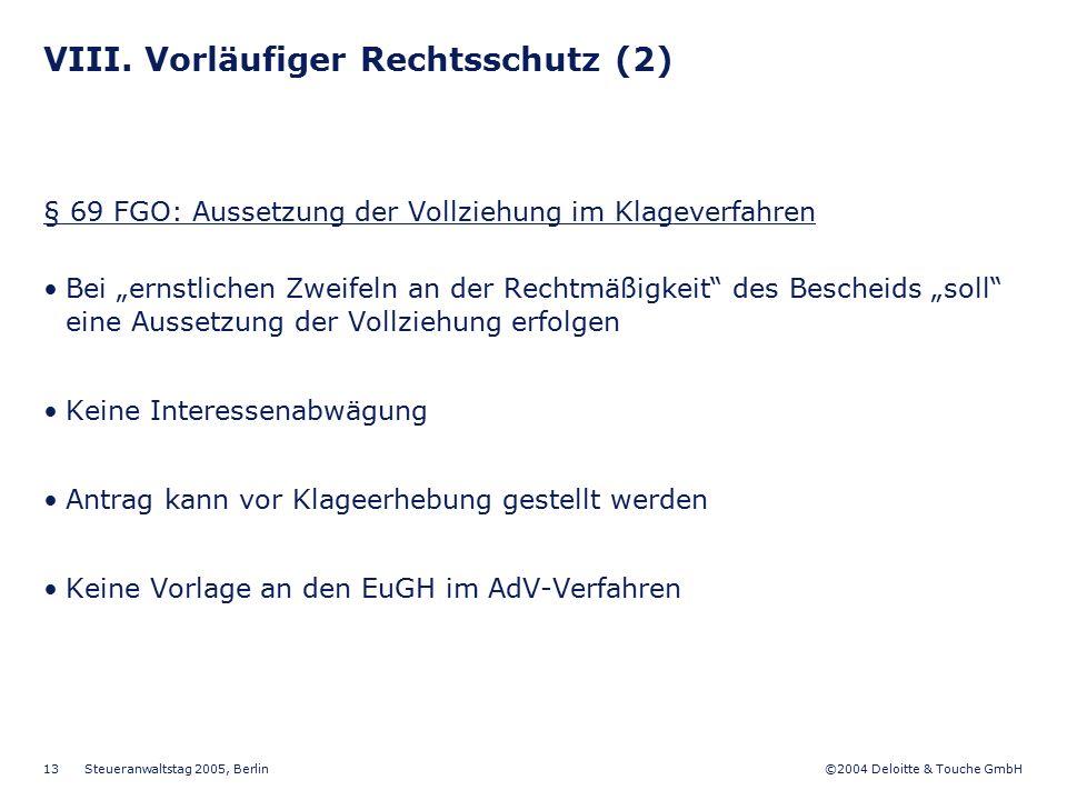 VIII. Vorläufiger Rechtsschutz (2)