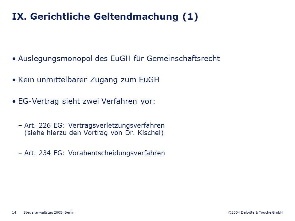 IX. Gerichtliche Geltendmachung (1)