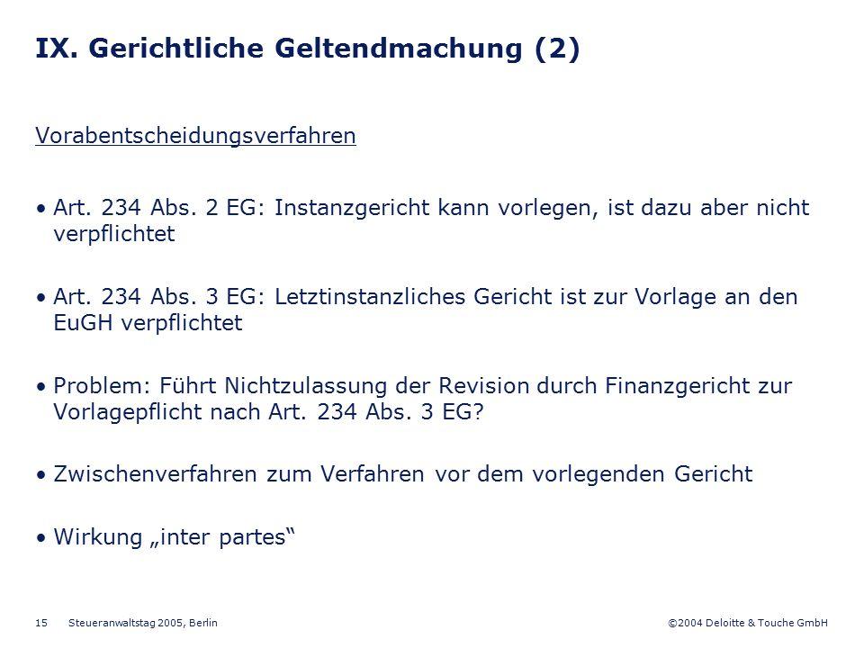 IX. Gerichtliche Geltendmachung (2)