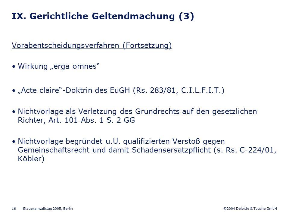 IX. Gerichtliche Geltendmachung (3)