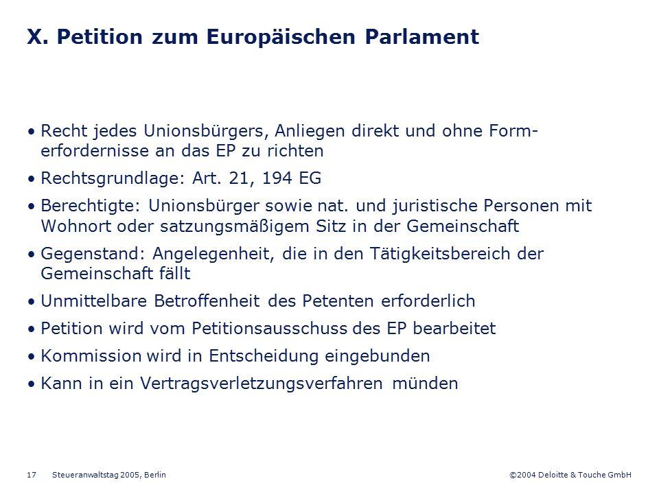 X. Petition zum Europäischen Parlament