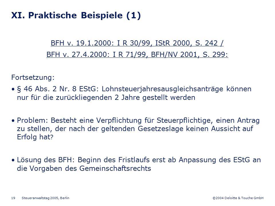 XI. Praktische Beispiele (1)