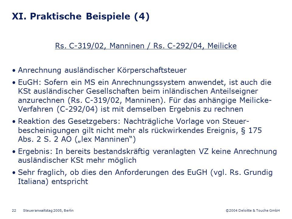 XI. Praktische Beispiele (4)