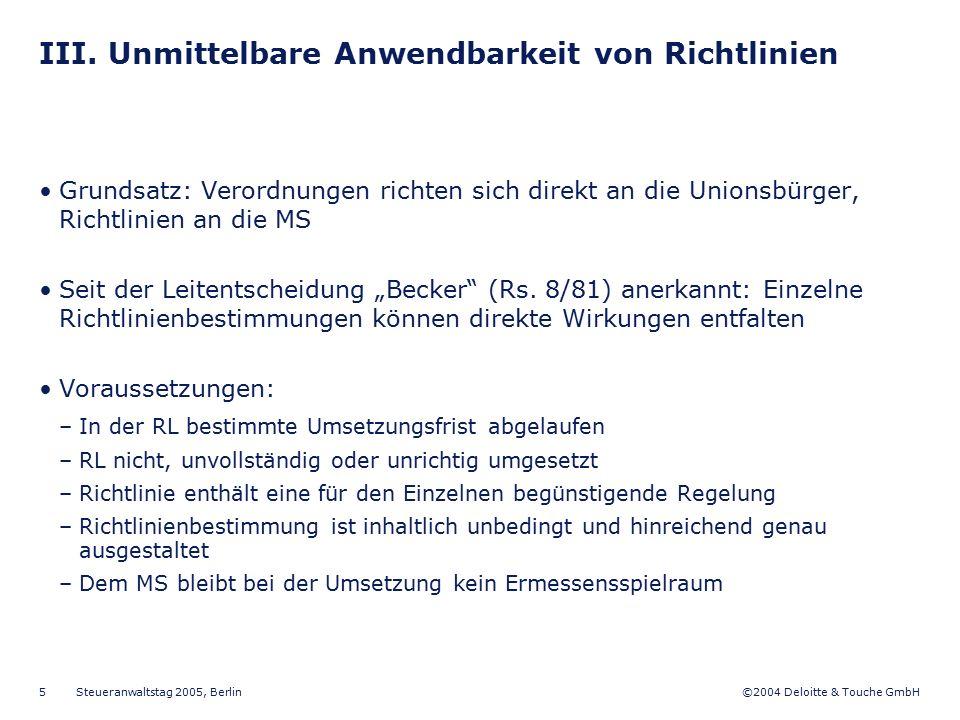III. Unmittelbare Anwendbarkeit von Richtlinien