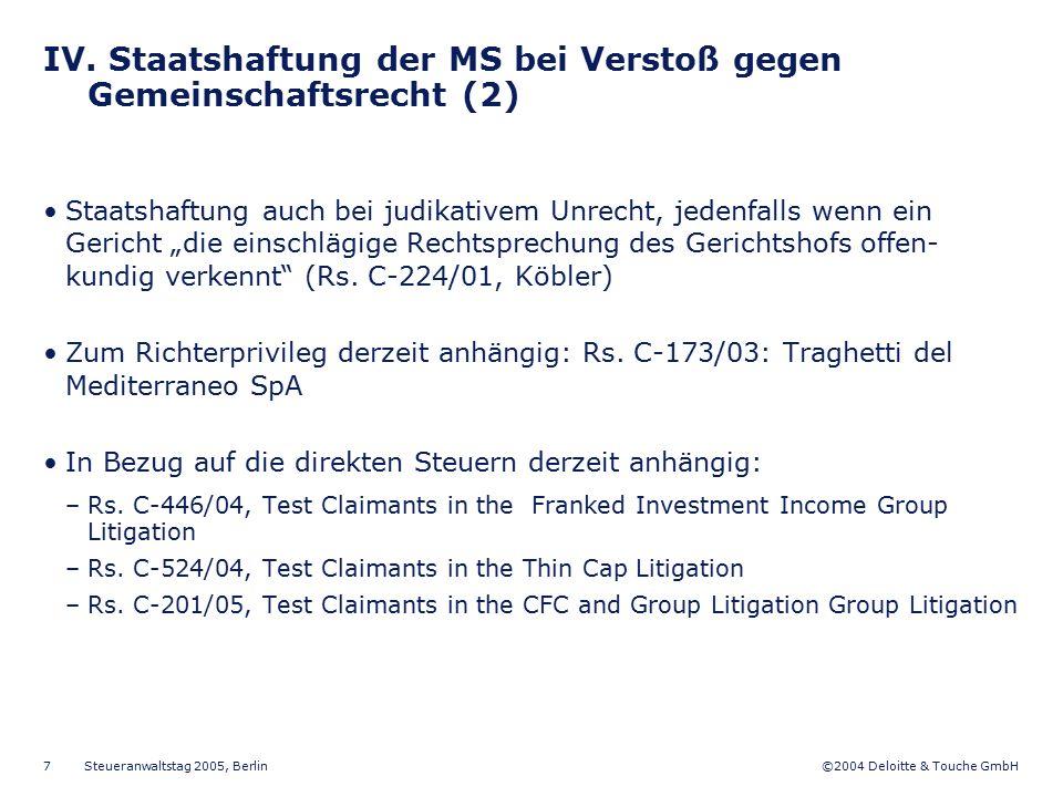IV. Staatshaftung der MS bei Verstoß gegen Gemeinschaftsrecht (2)