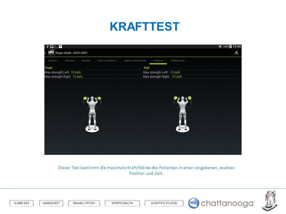 KRAFTTEST Dieser Test bestimmt die maximale Kraft/Stärke des Patienten in einer vorgebenen, exakten Position und Zeit.