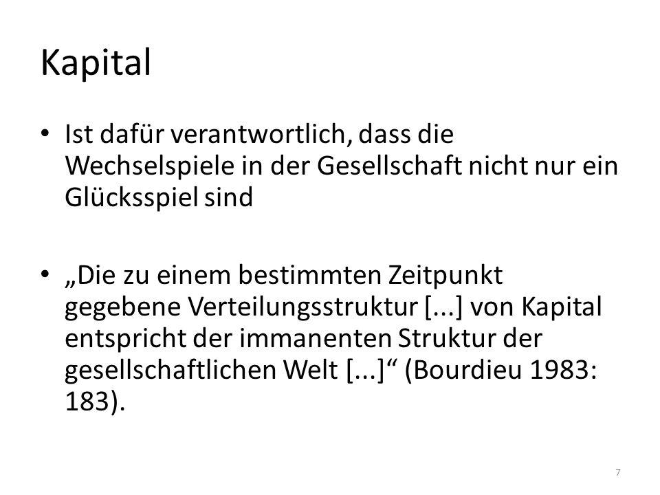 Kapital Ist dafür verantwortlich, dass die Wechselspiele in der Gesellschaft nicht nur ein Glücksspiel sind.
