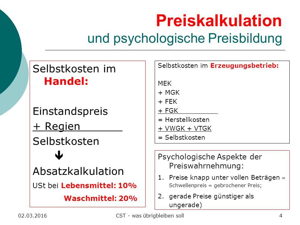 Preiskalkulation und psychologische Preisbildung