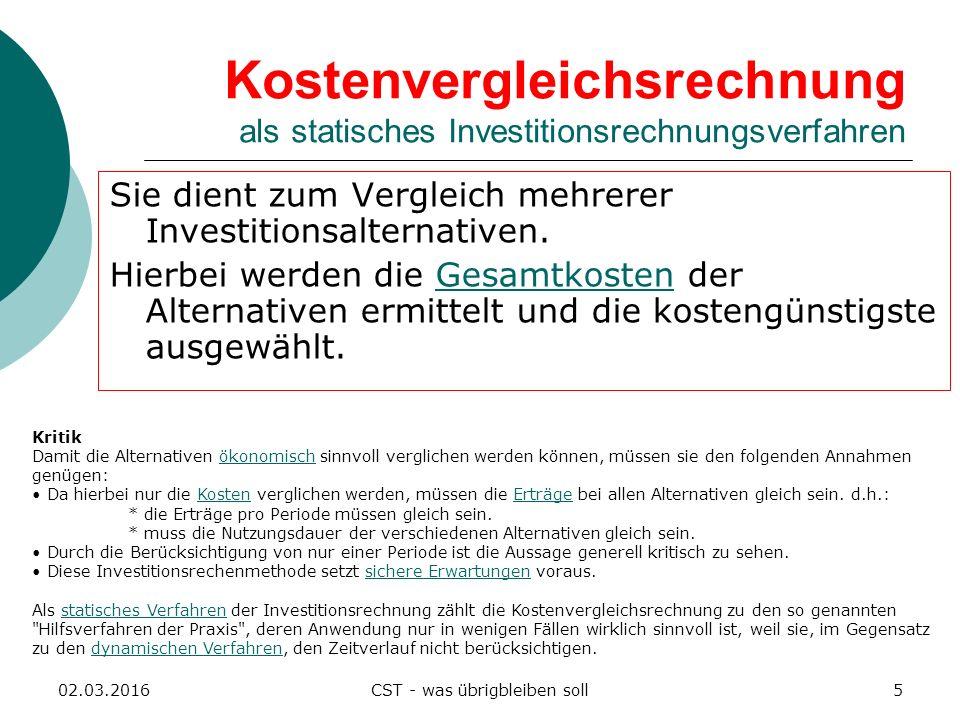 Kostenvergleichsrechnung als statisches Investitionsrechnungsverfahren