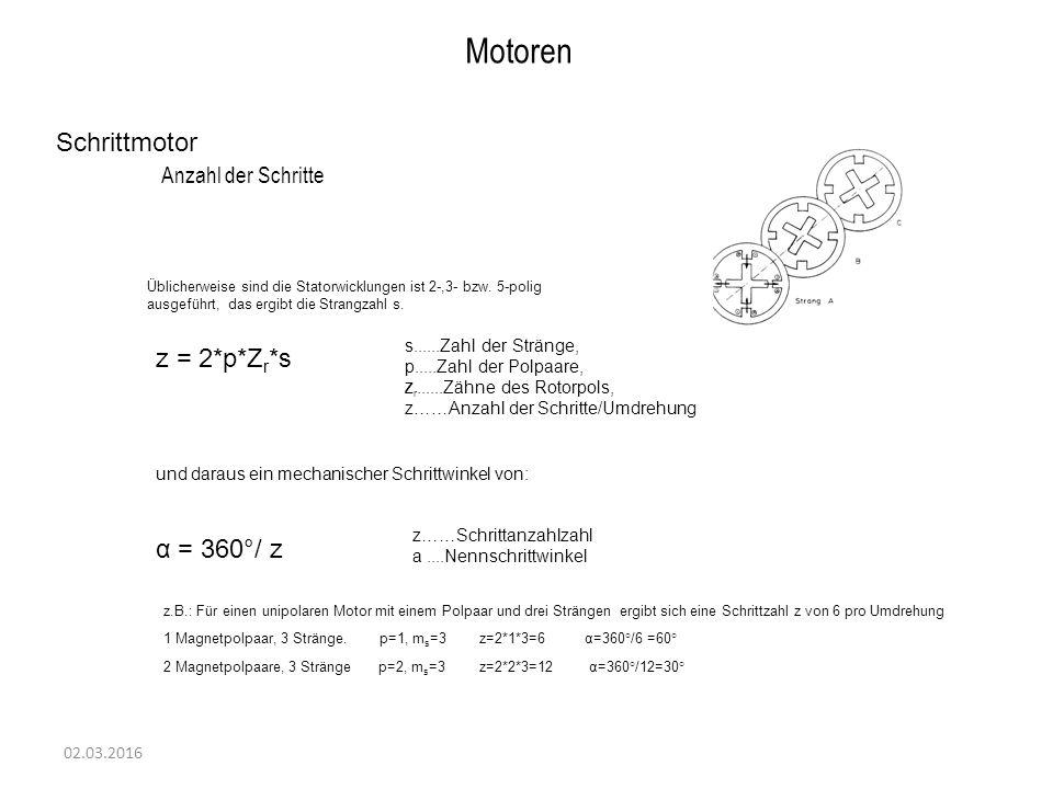 Motoren Schrittmotor Anzahl der Schritte z = 2*p*Zr*s α = 360°/ z