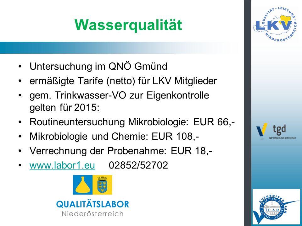 Wasserqualität Untersuchung im QNÖ Gmünd