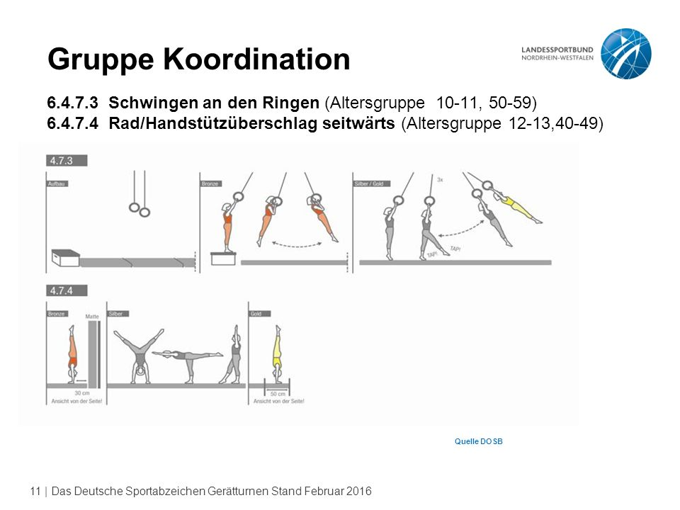 Gruppe Koordination 6.4.7.3 Schwingen an den Ringen (Altersgruppe 10-11, 50-59)